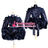 French Sissy Maid Lockable Uniform Black Satin-Lace Dress Cosplay Costume Tailor-Made[G1363]
