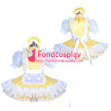 French lockable yellow sissy maid satin dress unisex Tailor-made[G3899]