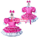 French Sissy Maid Satin Dress Lockable Uniform Cosplay Costume Tailor-Made[G2423]