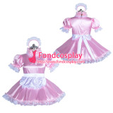 French lockable pink sissy maid satin dress unisex Tailor-made[G3885]