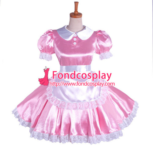 LOCKABLE PINK SATIN SISSY FRENCH MAID UNIFORM WITH OPTIONAL PETTICOATS
