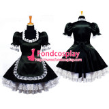 French Sexy Sissy Maid Black Satin Uniform Lockable Dress Cosplay Costume Custom-Made[G639]