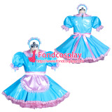 French Lockable PVC sissy maid light blue dress Tailor-made[G3868]