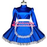 French Sexy Sissy Maid Blue Satin Dress Lockable Uniform Cosplay Costume Custom-Made[G558]