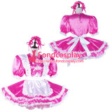 French Sissy Maid Satin Dress Lockable Uniform Cosplay Costume Tailor-Made[G2227]
