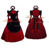 French Sexy Sissy Maid Dress Red Velvet Lockable Uniform Cosplay Costume Custom-Made[G520]