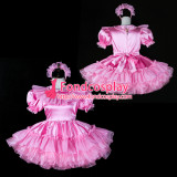 French Sissy Maid Satin Dress Lockable Pink Uniform Costume Tailor-Made[G2401]