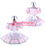 French Sissy Maid Satin Dress Lockable Uniform Cosplay Costume Tailor-Made[G2279]