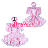 French Sissy Maid Satin Dress Lockable Uniform Cosplay Costume Tailor-Made[G2342]