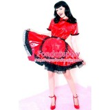 French Red Pvc Lockable Sissy Maid Dress Vinyl Uniform Tailor-Made[G1556]