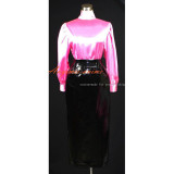 French Hot Pink-Black Sissy Maid Dress Gothic Lolita Punk Satin-Pvc Outfit Cosplay Costume Tailor-Made[G390]