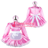 French Sissy Maid Satin Dress Lockable Uniform Cosplay Costume Tailor-Made[G2272]