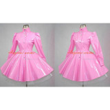 French Sissy Maid Gothic Lolita Punk Pink Pvc Dress Cosplay Costume Tailor-Made[G392]