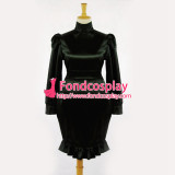 French Sissy Maid Gouvernante Fetish Black Satin Dress Cosplay Costume Tailor-Made[G050]