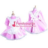 French Pink Pvc Lockable Sissy Maid Dress Vinyl Uniform Tailor-Made[G1547]