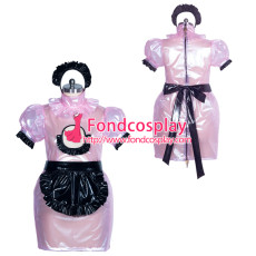 French lockable pink clear PVC sissy maide dress unisex Tailor-made[G3874]