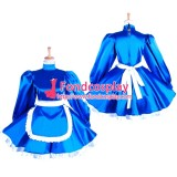 French Lockable Sissy Maid Blue Satin Dress Uniform Cosplay Costume Tailor-Made[G1551]