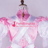 French Sissy Maid Satin Pink Dress Lockable Uniform Cosplay Costume Tailor-Made[G1745]