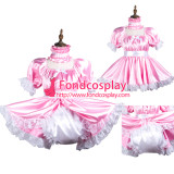 French Sissy Maid Satin Dress Lockable Uniform Cosplay Costume Tailor-Made[G3736]