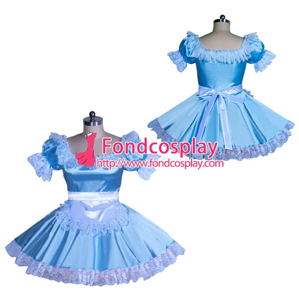 French blueSatin Sissy Maid Dress Unisex CD/TV Tailor-Made [G3930]