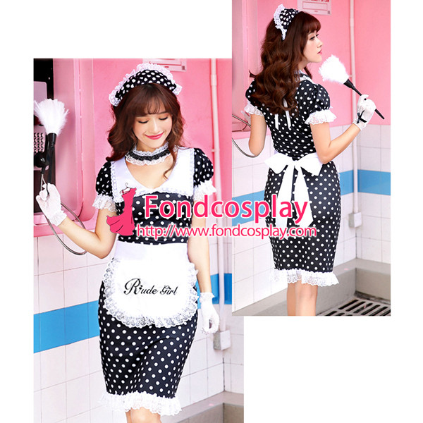 French polka dots Satin lockable Sissy Maid dress unisex CD/TV Tailor-made[G3922]