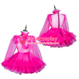 French Sissy Maid Hot Pink Organza Dress Lockable Uniform Costume Tailor-Made[G3732]