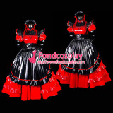 French Red-Black Sexy Sissy Maid Pvc Dress Lockable Uniform Cosplay Costume Tailor-Made[G476]
