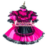French Sissy Maid Satin Dress Lockable Uniform Cosplay Costume Tailor-Made[G2147]