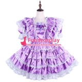 French Purple Lockable Sissy Maid Satin Dress Uniform Cosplay Costume Tailor-Made[G1570]