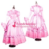 French Sissy Maid Dress Uniform Gothic Lolita Pink Satin Long Dress Tailor-Made[G1783]