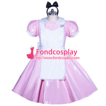 French lockable pink heavy PVC Alice sissy maid dress cosplay Tailor-made[G3912]