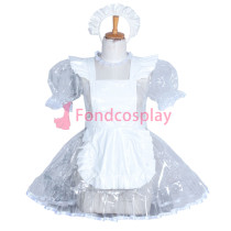 French Lockable clear PVC sissy maid dress CD/TV Tailor -Made[G3856]