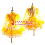 French Sissy Maid Yellow Organza Lockable Dress Cosplay Costume Tailor-Made[G1367]