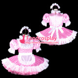 French Sissy Maid Satin Dress Lockable Uniform Cosplay Costume Tailor-Made[G2318]