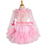 French Lockable Sissy Maid Dress Pink Organza Uniform Cosplay Costume Tailor-Made[G1049]