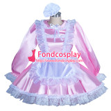 French pink Satin Lockable Sissy Maid Dress Unisex CD/TV Tailor-Made [G3931]