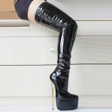 French Pleaser Seduce Crossdresser Sissy Maid Thigh High Boots 22CM