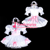French Sissy Maid Satin Dress Lockable Uniform Cosplay Costume Tailor-Made[G2325]