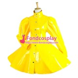 French Yellow Pvc Sissy Maid Dress Cosplay Costume Tailor-Made[G1546]