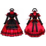 French Sexy Sissy Maid Dress Red Satin Lockable Uniform Cosplay Costume Custom-Made[G529]