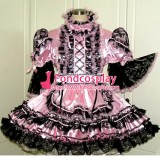 French Lockable Sissy Maid Pink Satin Dress Uniform Cosplay Costume Tailor-Made[G1559]