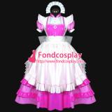 French Hot Pink-White Sexy Sissy Maid Dress Pvc Long Dress Lockable Uniform Cosplay Costume Custom-Made[G477]
