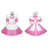 French Sexy Sissy Maid Pvc Dress Pink Lockable Uniform Cosplay Costume Tailor-Made[G395]