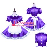 French Purple Satin Sissy Maid Dress With Pearl Buttons Uniform Tailor-Made[G1493]