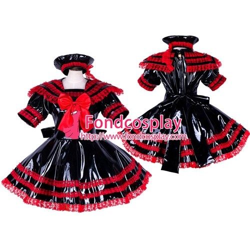 French Lockable Sissy Maid Pvc Dress Uniform Cosplay Costume Tailor-Made[G1744]