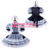 French Sissy Maid Satin Dress Lockable Uniform Cosplay Costume Tailor-Made[G2344]