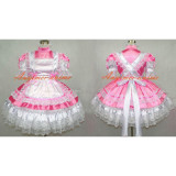 French Sexy Sissy Maid Satin Pink Dress Lockable Uniform Cosplay Costume Tailor-Made[G265]