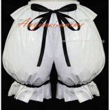 White Gothic Lolita Punk Bloomers Pvc Pants Have A Bowknot Cosplay Costume Custom-Made[G587]
