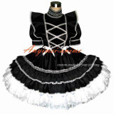 Sexy Sissy Maid Satin Black Dress Lockable Uniform Cosplay Costume Tailor-Made[G367]