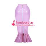 lockable pink PVC fishtail hobble skirt unisex Tailor-made[G3890]